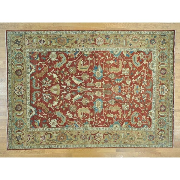 Hand Knotted Red Heriz with Wool Oriental Rug - 9'7 x 13'7