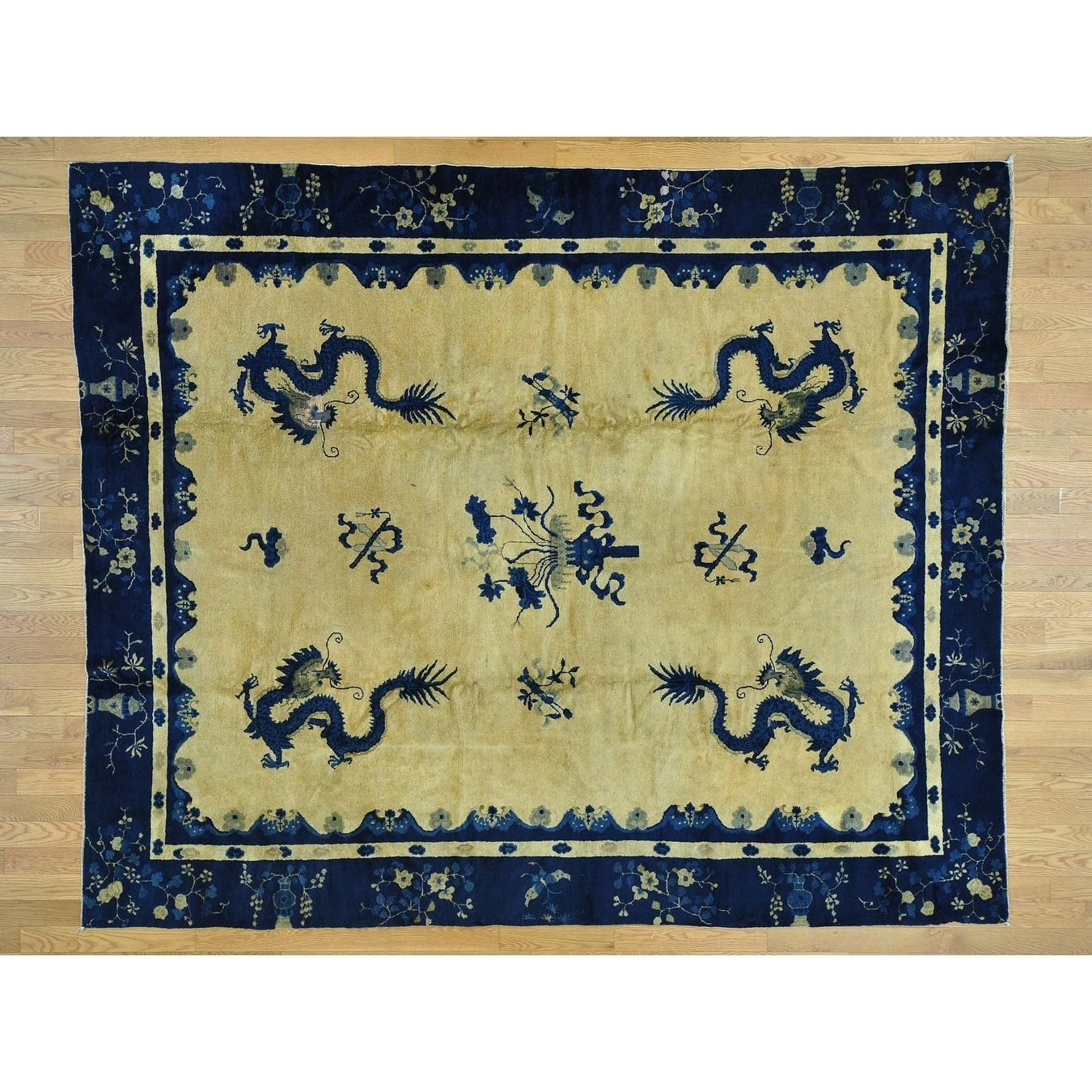 Hand Knotted Yellow Antique with Wool Oriental Rug - 8 x 98