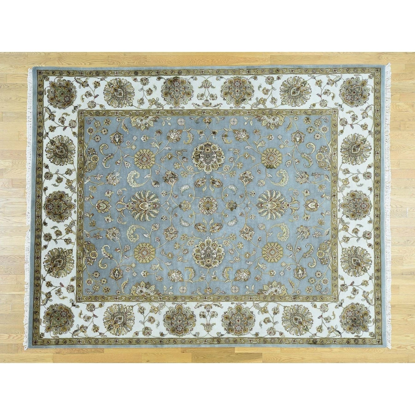 Hand Knotted Blue Rajasthan with Wool & Silk Oriental Rug - 8 x 10