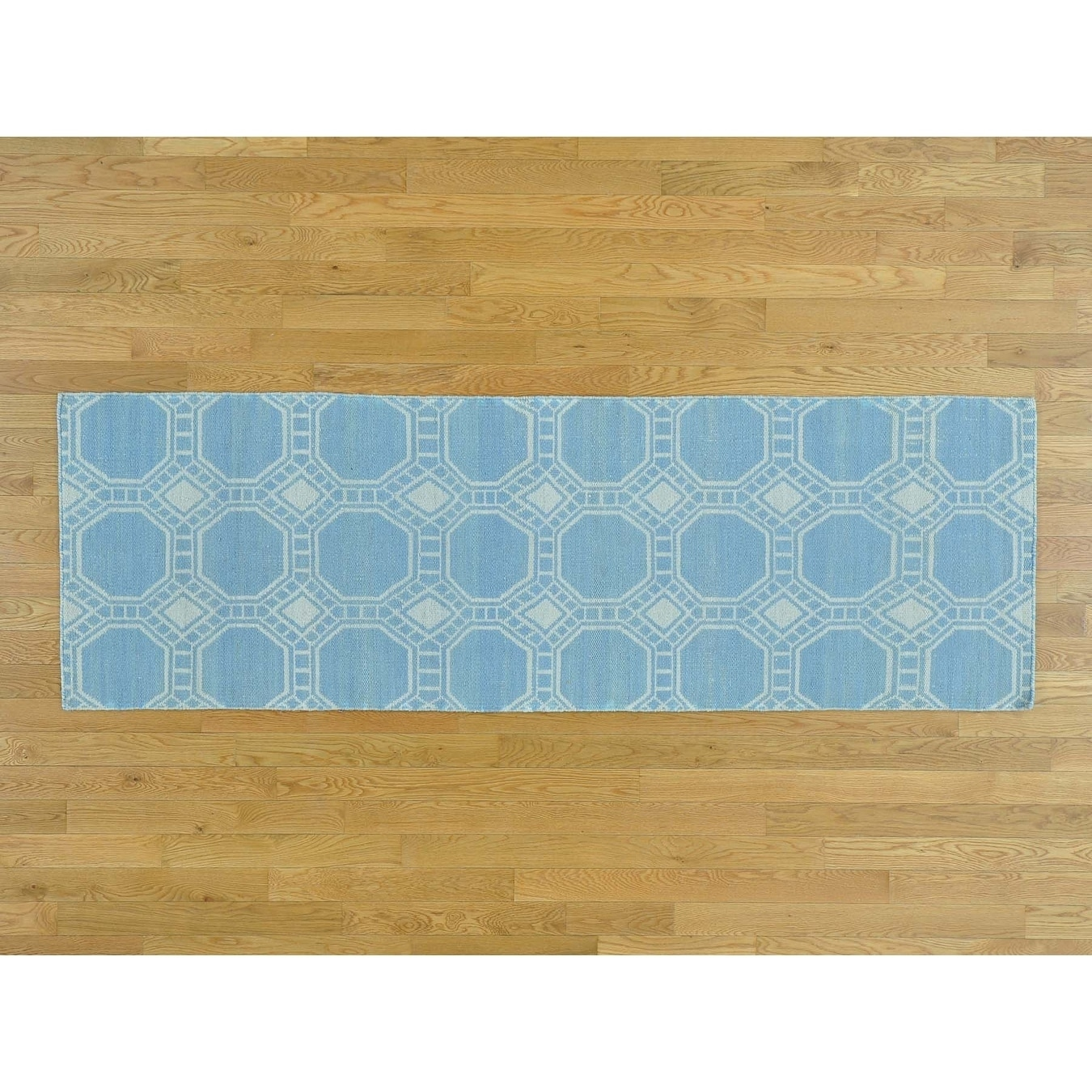 Hand Knotted Blue Flat Weave with Wool Oriental Rug - 26 x 710