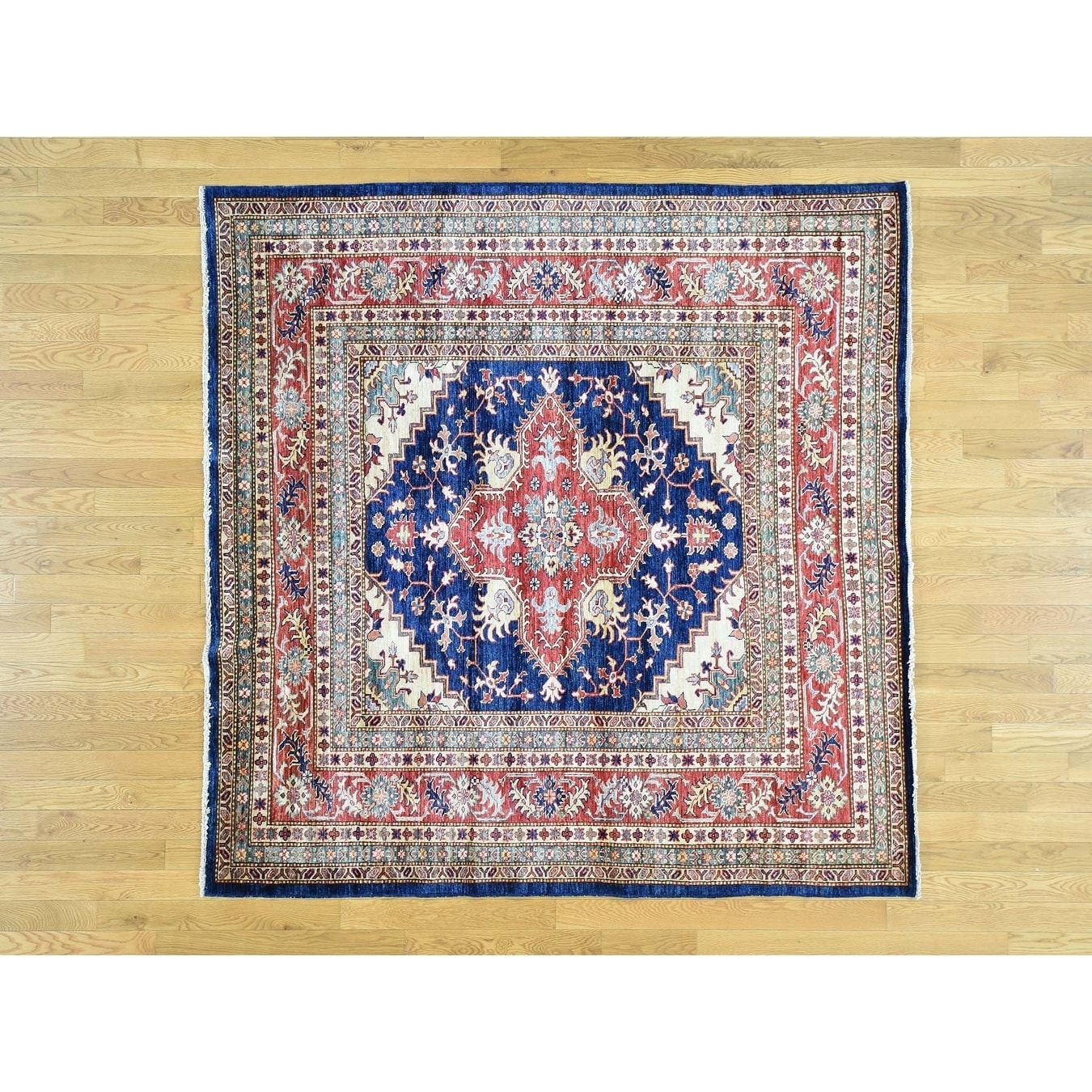 Hand Knotted Blue Kazak with Wool Oriental Rug - 65 x 67
