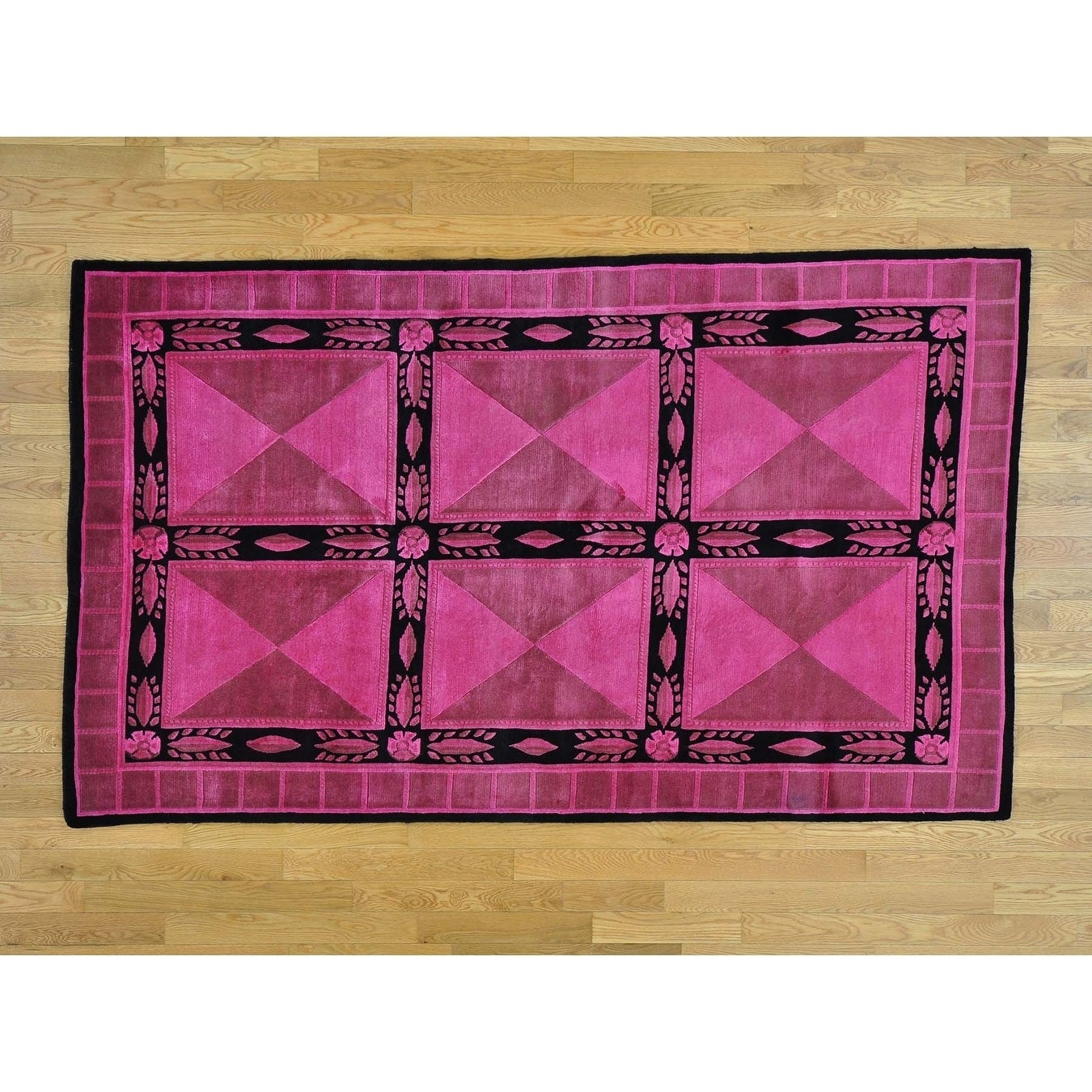 Hand Knotted Pink Overdyed & Vintage with Wool Oriental Rug - 5 x 8