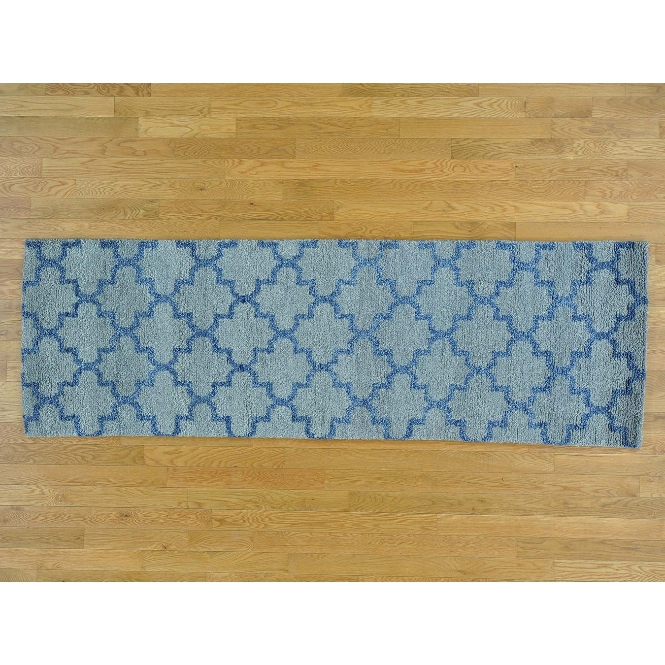 Hand Knotted Grey Modern & Contemporary with Wool Oriental Rug - 27 x 82