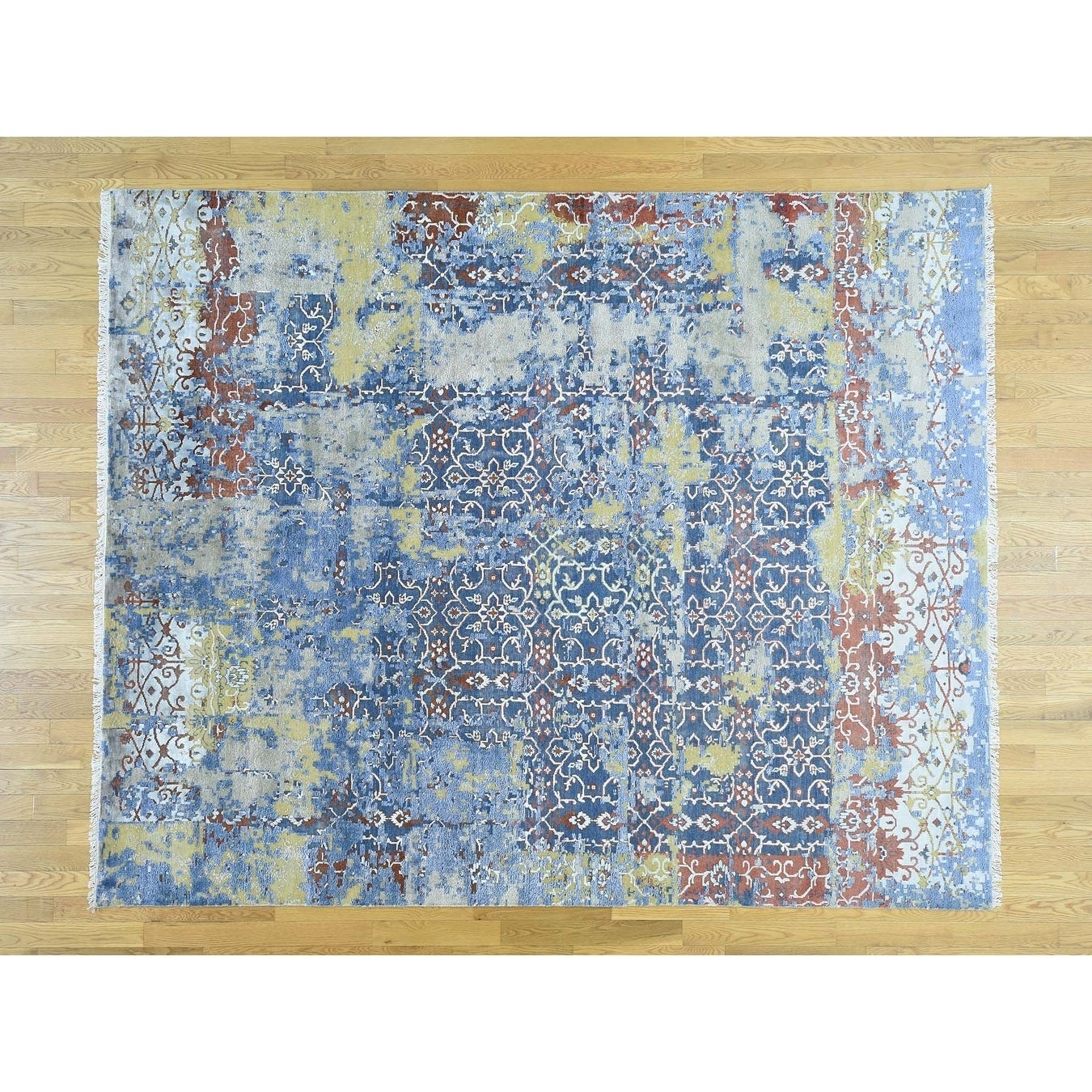 Hand Knotted Blue Modern & Contemporary with Wool & Silk Oriental Rug - 710 x 99