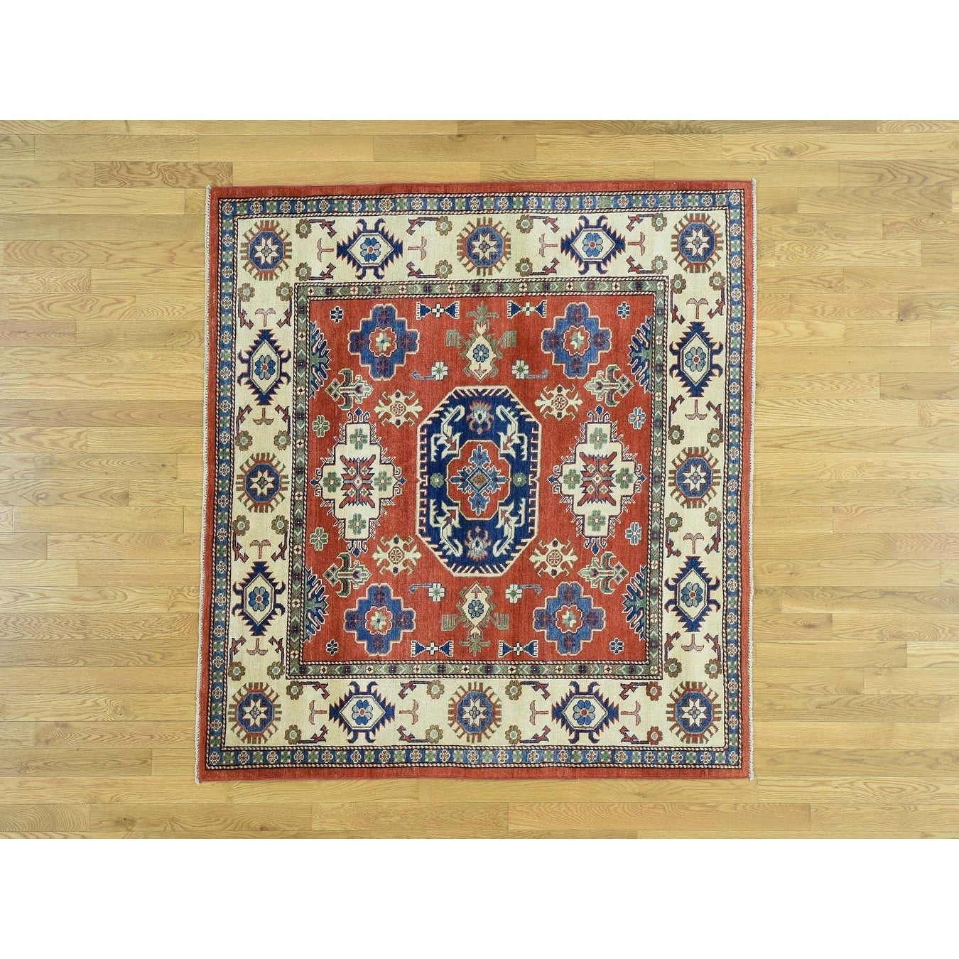 Hand Knotted Red Kazak with Wool Oriental Rug - 56 x 6