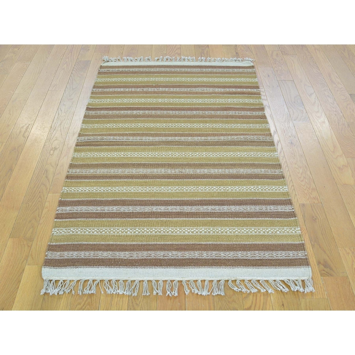 Hand Knotted Multicolored Flat Weave with Wool Oriental Rug - 29 x 5