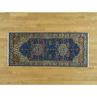 Hand Knotted Blue Heriz with Wool Oriental Rug - 2'6 x 6'