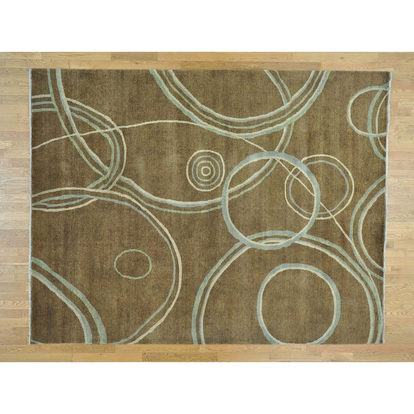 Hand Knotted Brown Clearance with Wool Oriental Rug - 86 x 1010