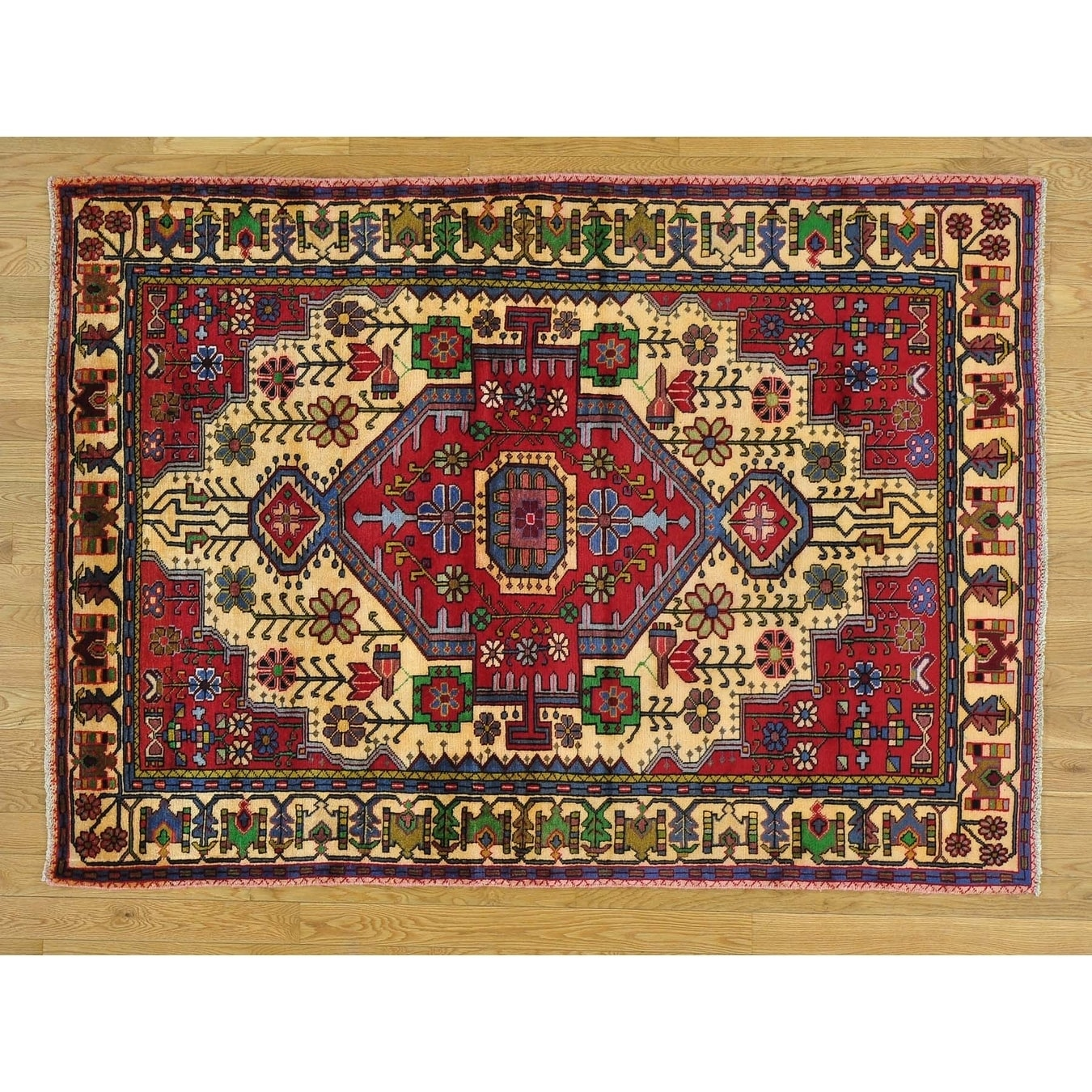 Hand Knotted Red Persian with Wool Oriental Rug - 47 x 65