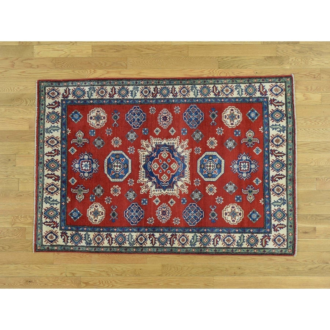 Hand Knotted Red Kazak with Wool Oriental Rug - 310 x 58