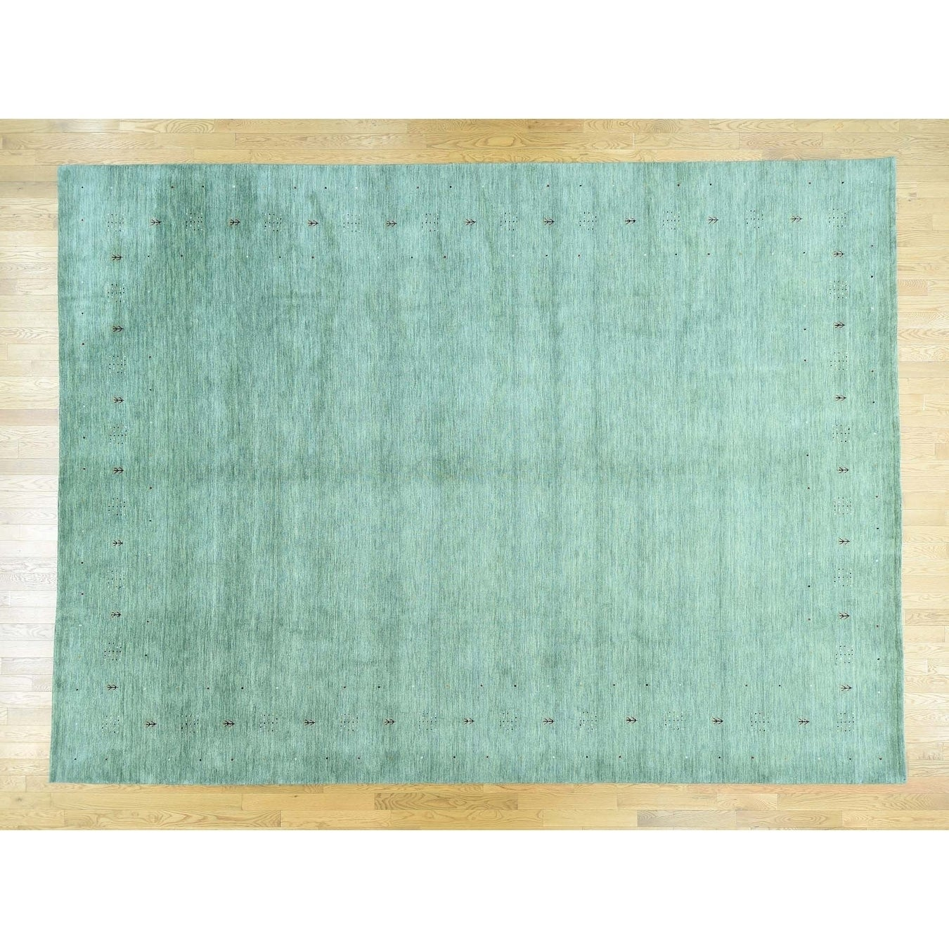 Hand Knotted Green Modern & Contemporary with Wool Oriental Rug - 102 x 14