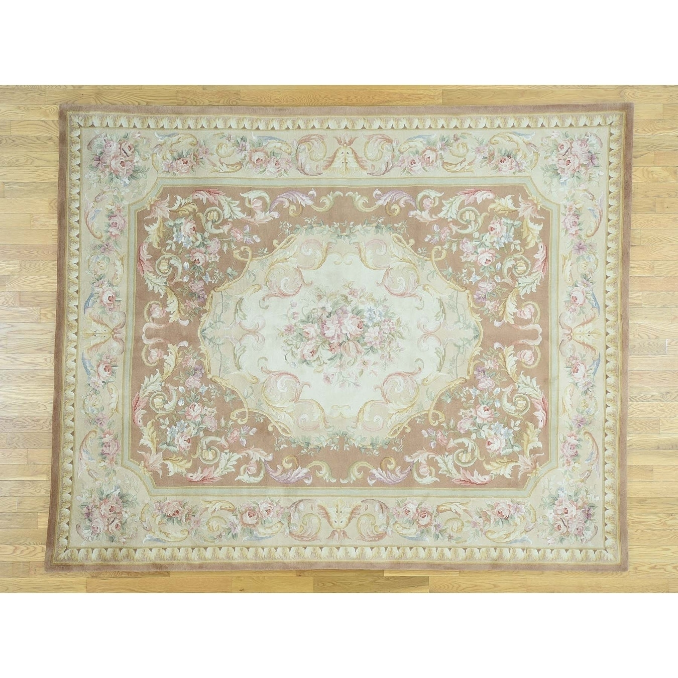 Hand Knotted Pink European with Wool Oriental Rug - 99 x 139