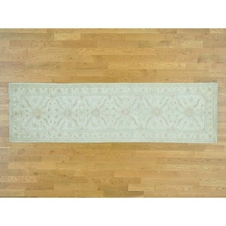 Hand Knotted Ivory White Wash Vintage & Silver Wash with Wool Oriental Rug - 3' x 10'1