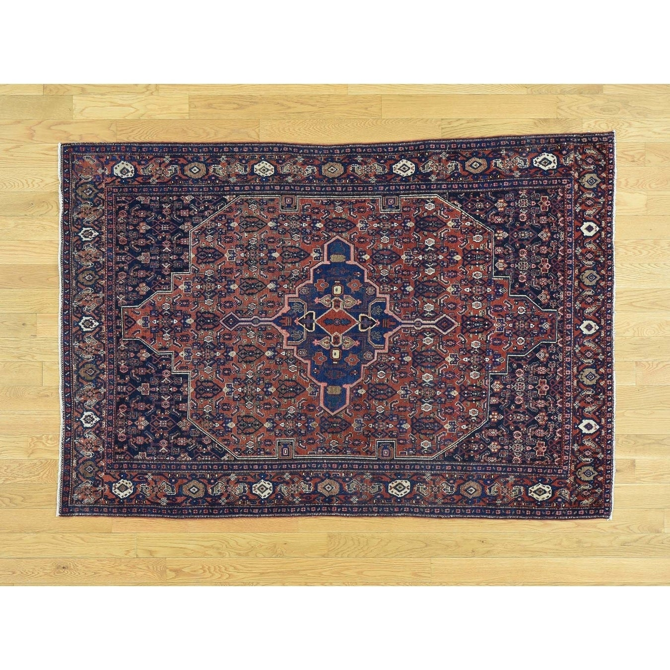 Hand Knotted Red Antique with Wool Oriental Rug - 42 x 62