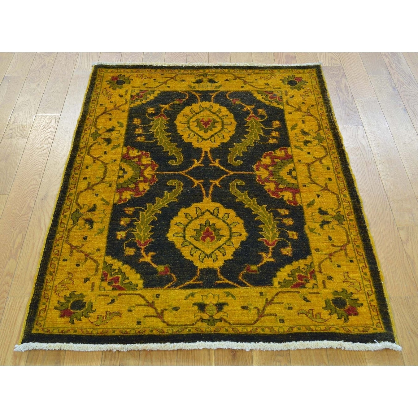 Hand Knotted Black Oushak And Peshawar with Wool Oriental Rug - 29 x 4