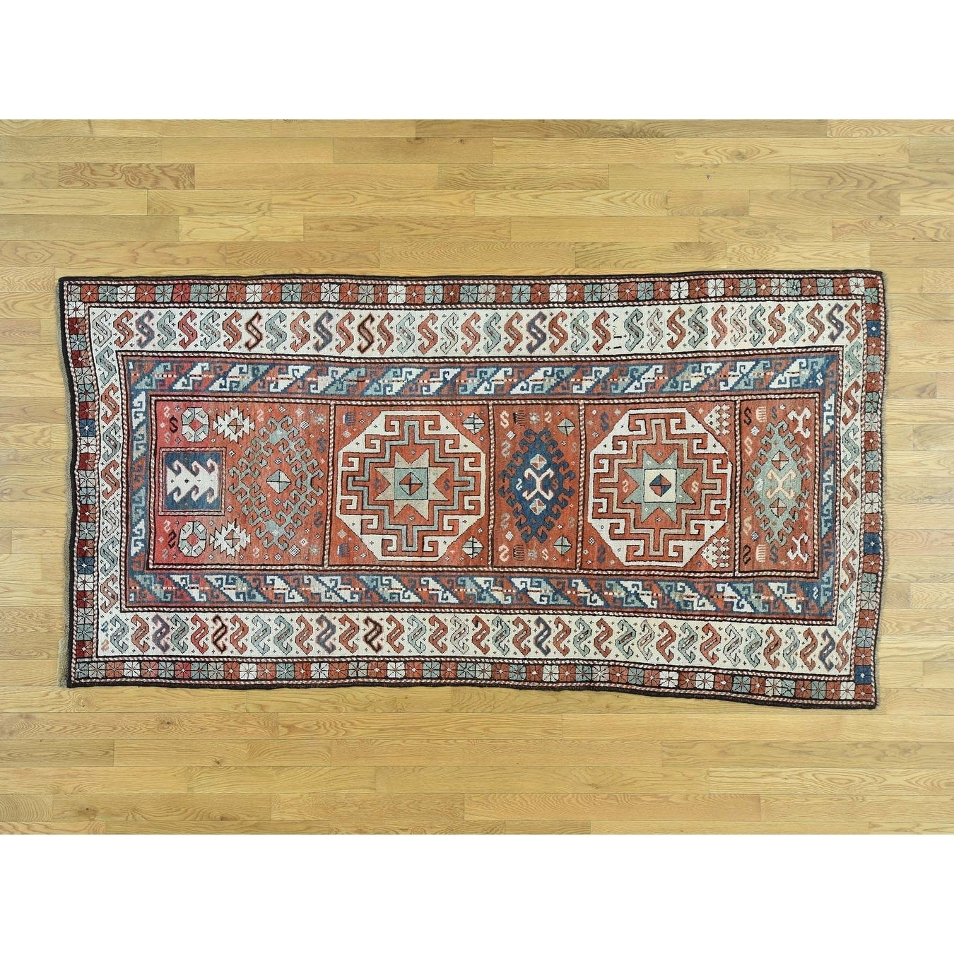 Hand Knotted Red Antique with Wool Oriental Rug - 43 x 86