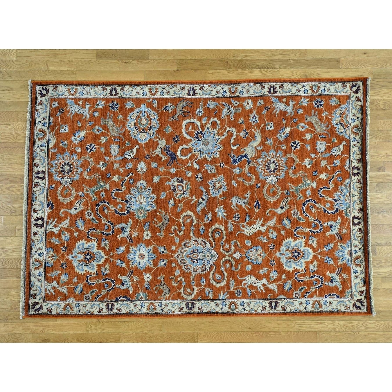 Hand Knotted Red Fine Oriental with Wool Oriental Rug - 62 x 9