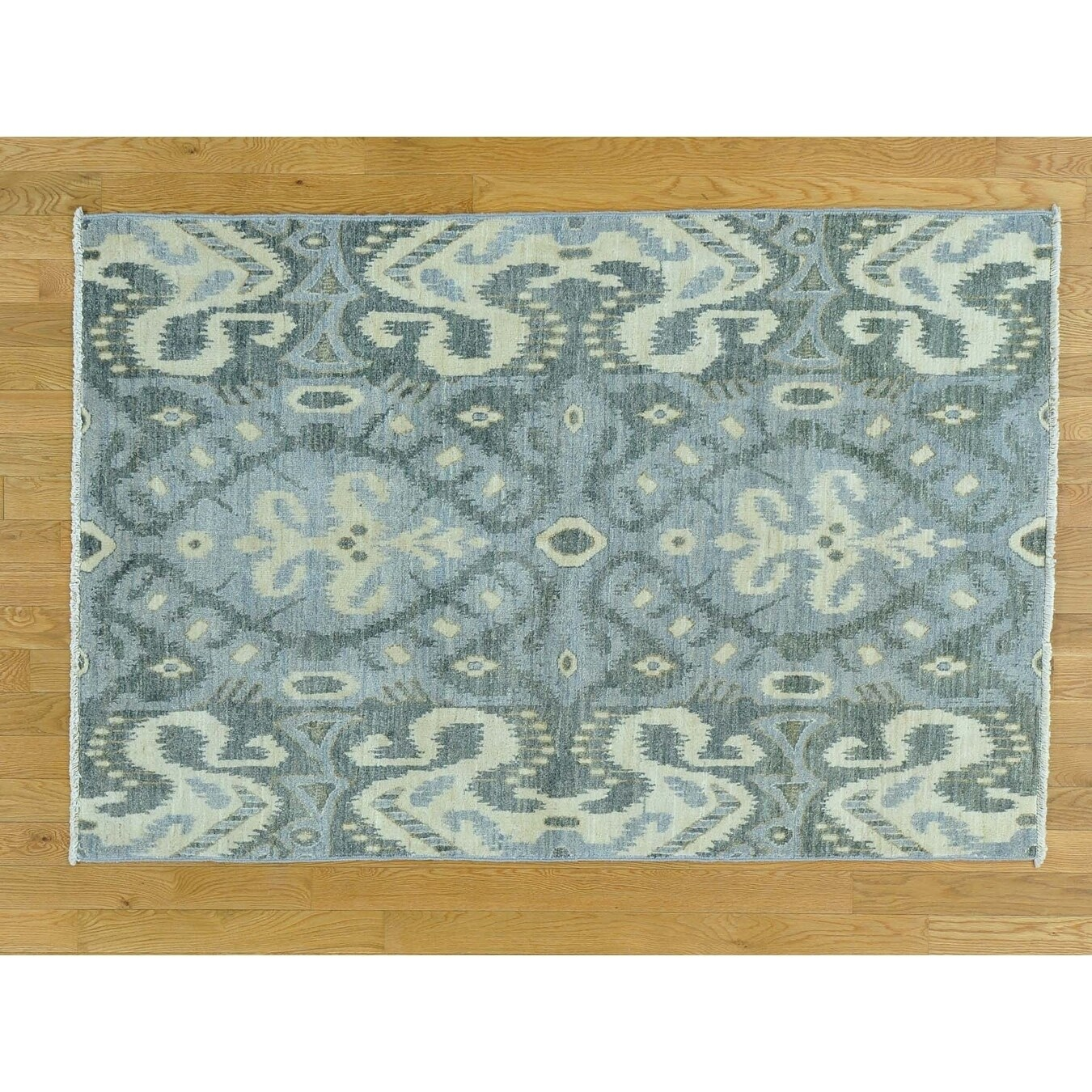 Hand Knotted Grey Ikat And Suzani Design with Wool Oriental Rug - 4 x 6