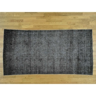 Hand Knotted Grey Overdyed & Vintage with Wool Oriental Rug - 5' x 9'8