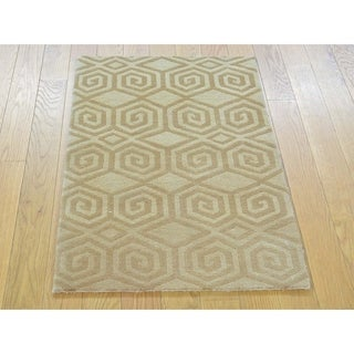 Hand Knotted Brown Modern & Contemporary with Wool & Silk Oriental Rug