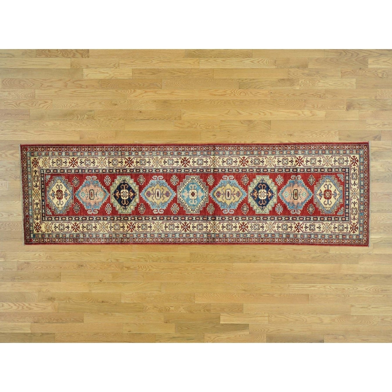 Hand Knotted Red Kazak with Wool Oriental Rug - 28 x 92