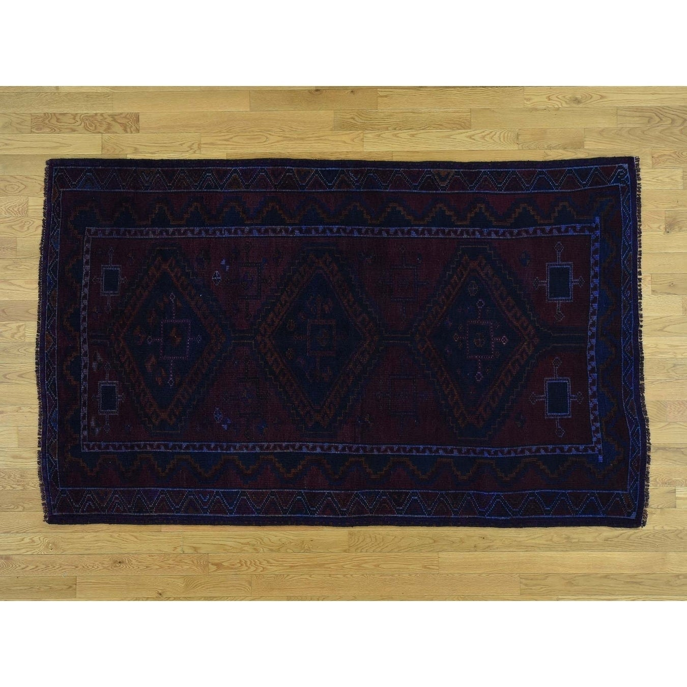 Hand Knotted Blue Overdyed & Vintage with Wool Oriental Rug - 49 x 78