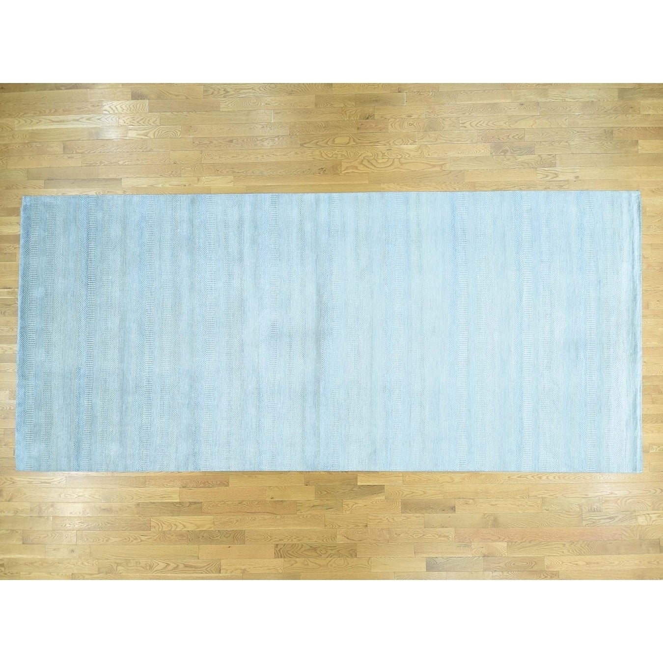 Hand Knotted Blue Modern & Contemporary with Wool & Silk Oriental Rug - 8 x 143