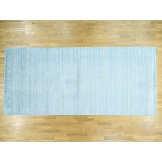 Hand Knotted Blue Modern & Contemporary with Wool & Silk Oriental Rug - 8' x 14'3