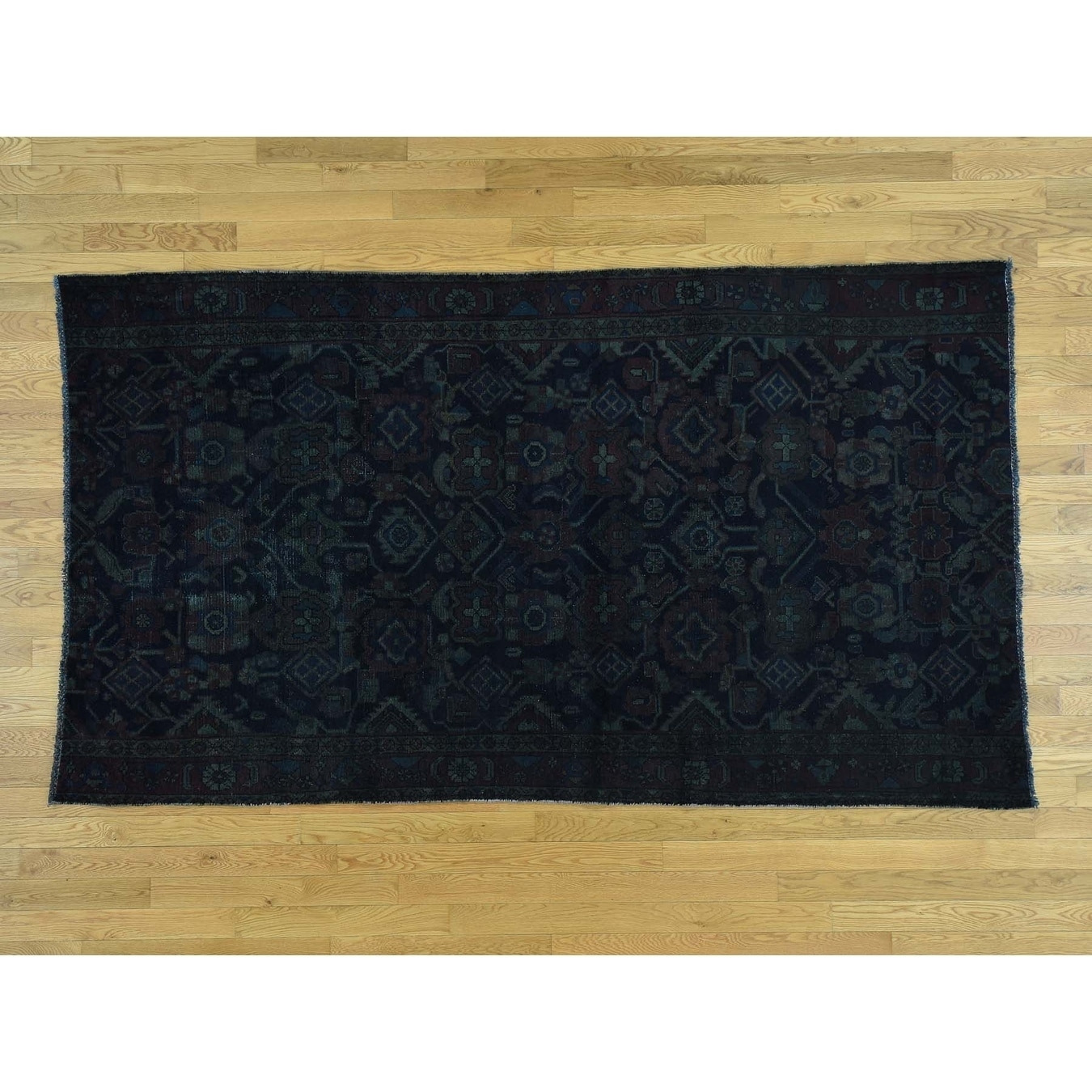 Hand Knotted Blue Overdyed & Vintage with Wool Oriental Rug - 5 x 88