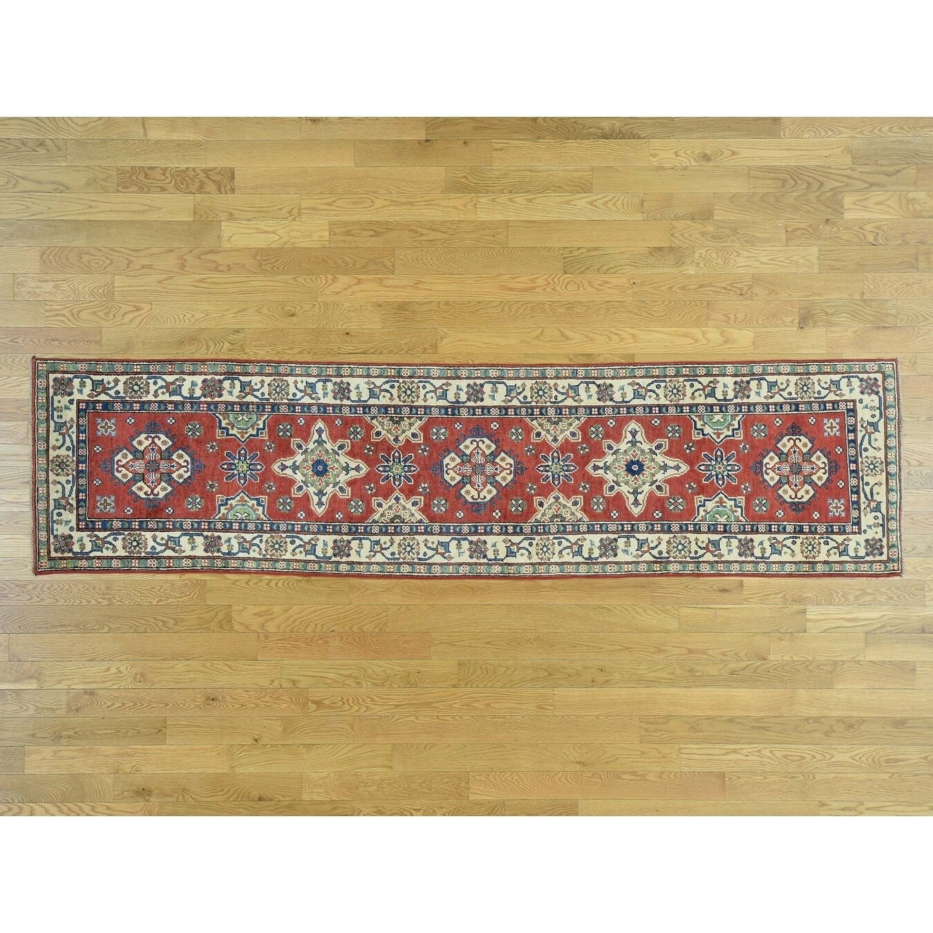 Hand Knotted Red Kazak with Wool Oriental Rug - 26 x 105