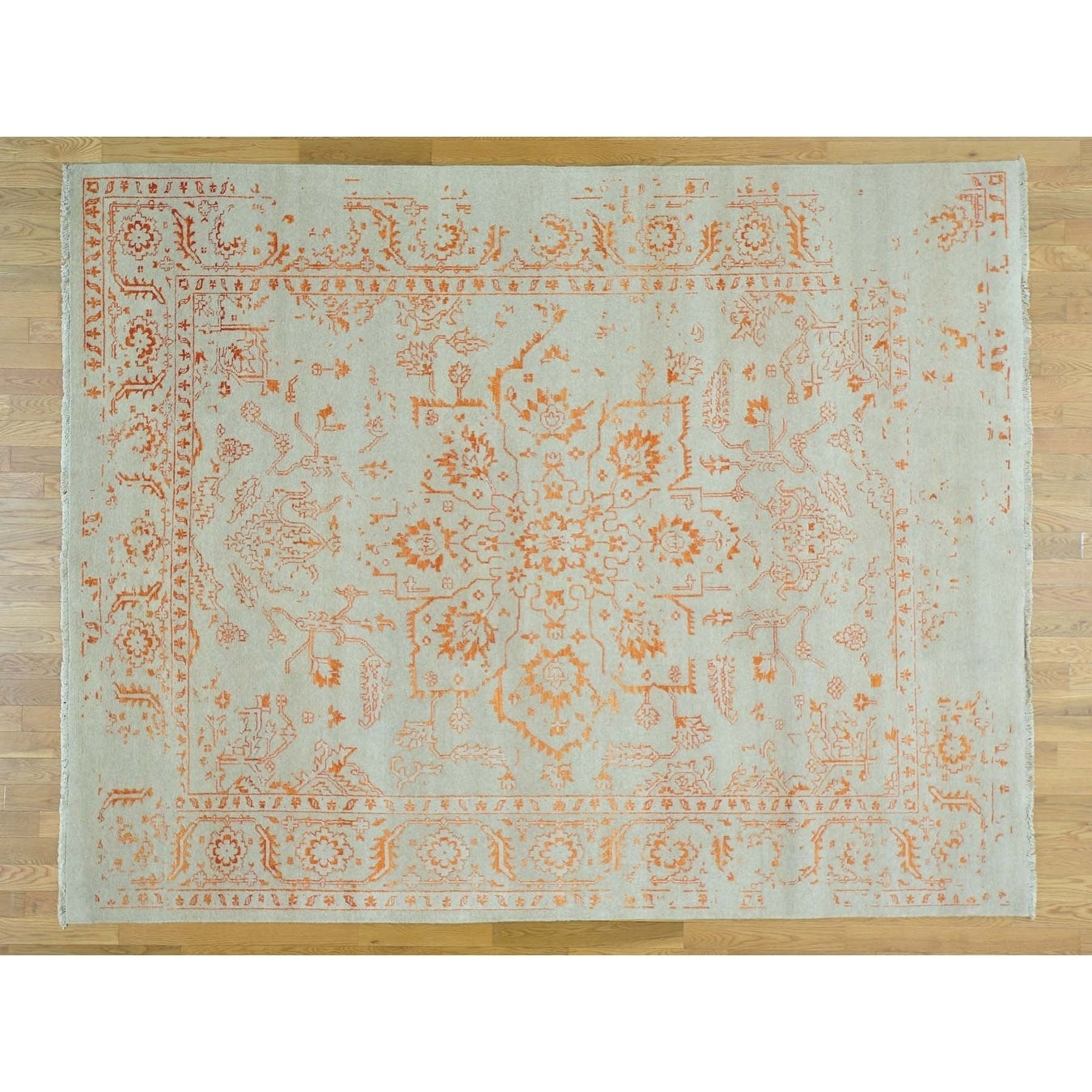 Hand Knotted Ivory Heriz with Wool & Silk Oriental Rug - 710 x 10