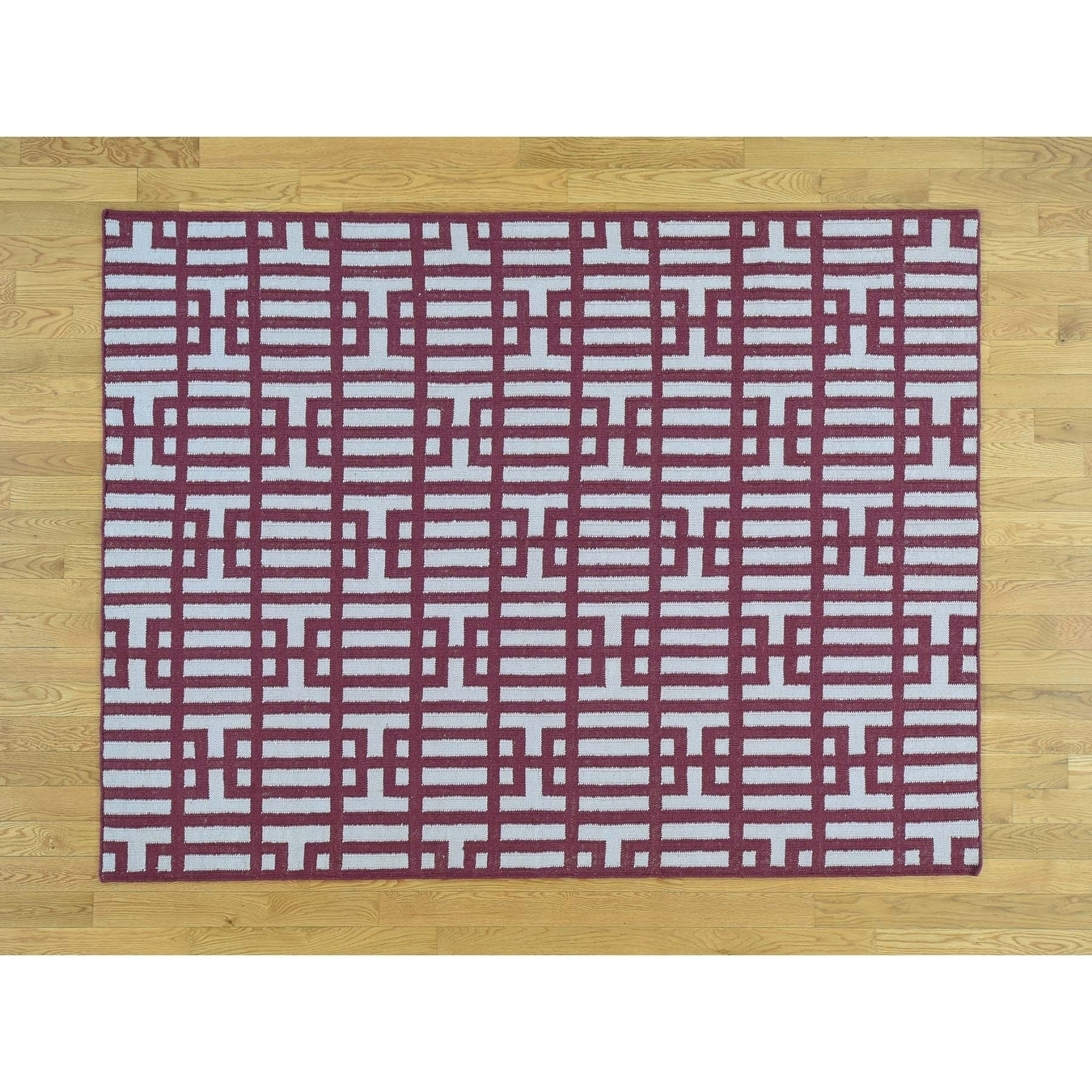 Hand Knotted Ivory Flat Weave with Wool Oriental Rug - 53 X 7