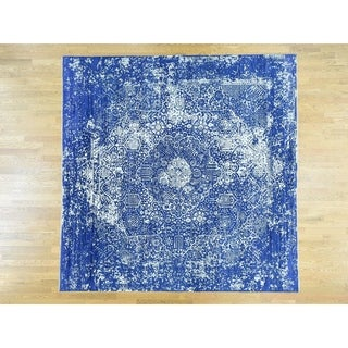 Hand Knotted Blue Modern & Contemporary with Wool & Silk Oriental Rug - 9'10 x 9'10