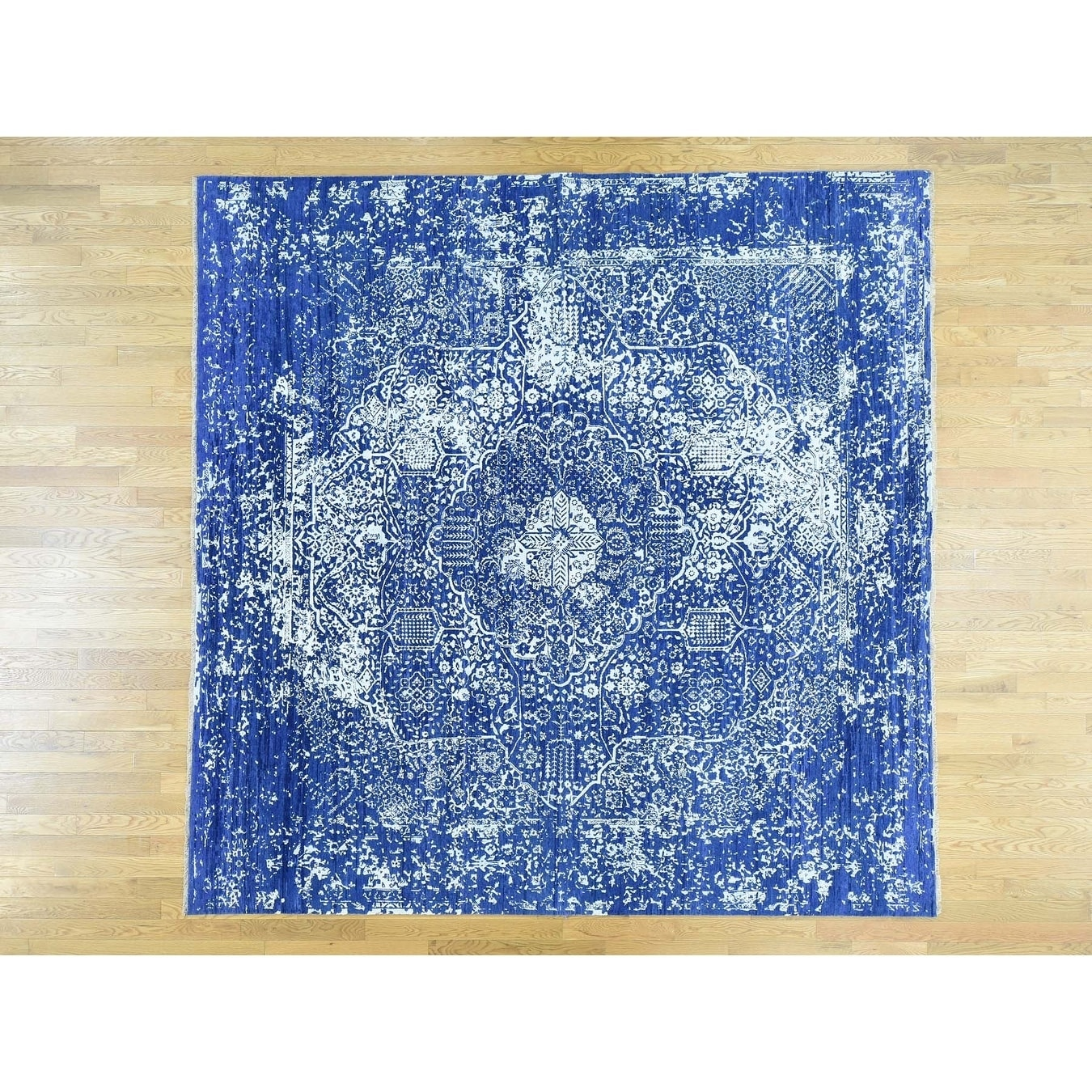 Hand Knotted Blue Modern & Contemporary with Wool & Silk Oriental Rug - 910 x 910