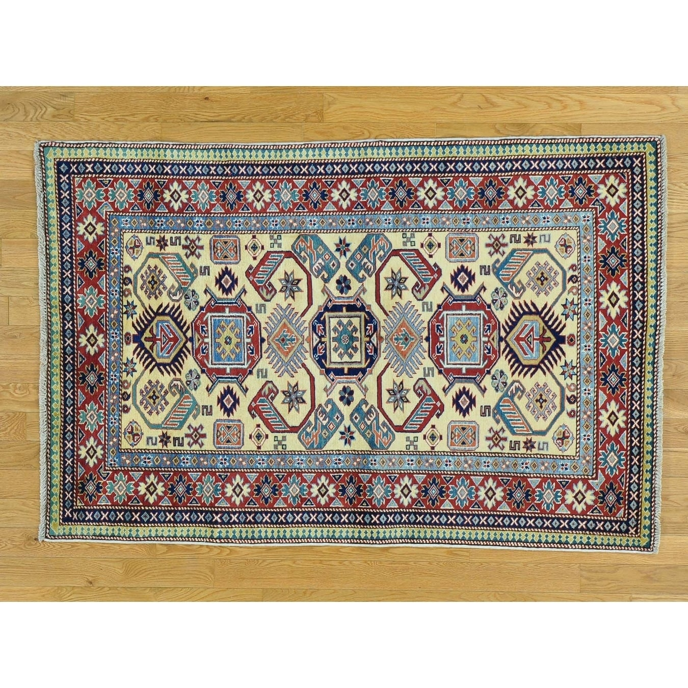 Hand Knotted Beige Kazak with Wool Oriental Rug - 310 x 58