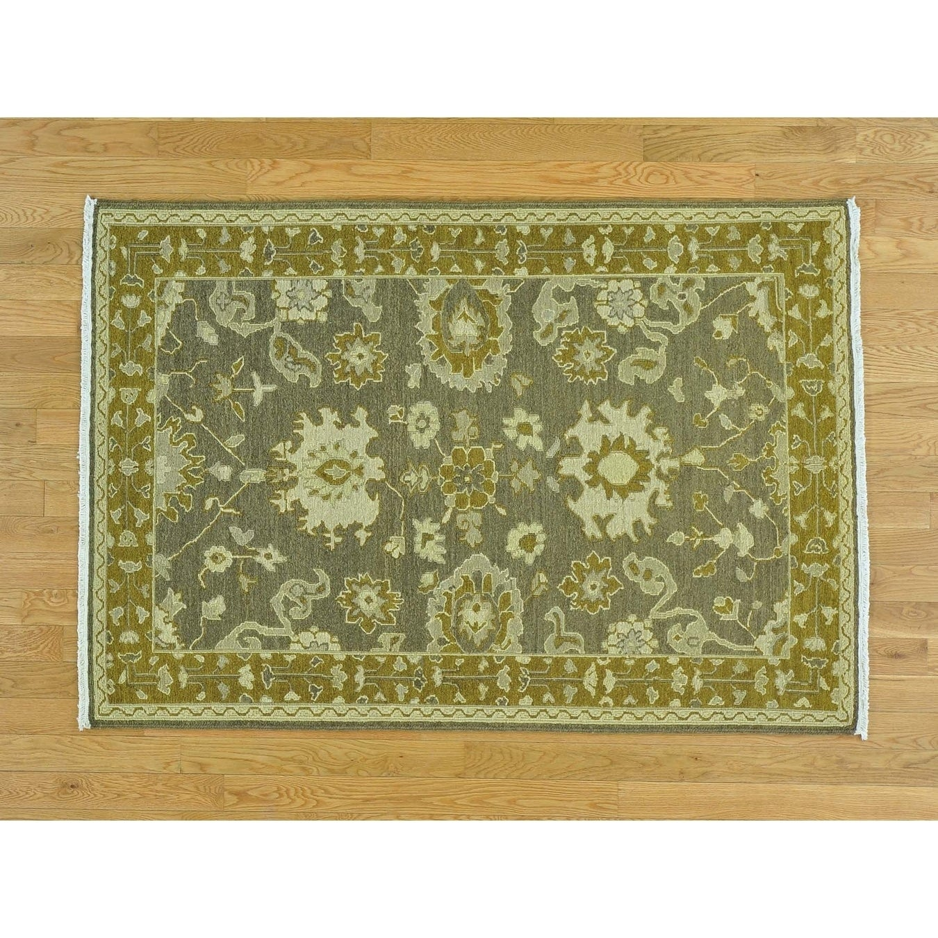 Hand Knotted Grey Flat Weave with Wool Oriental Rug - 4 x 59