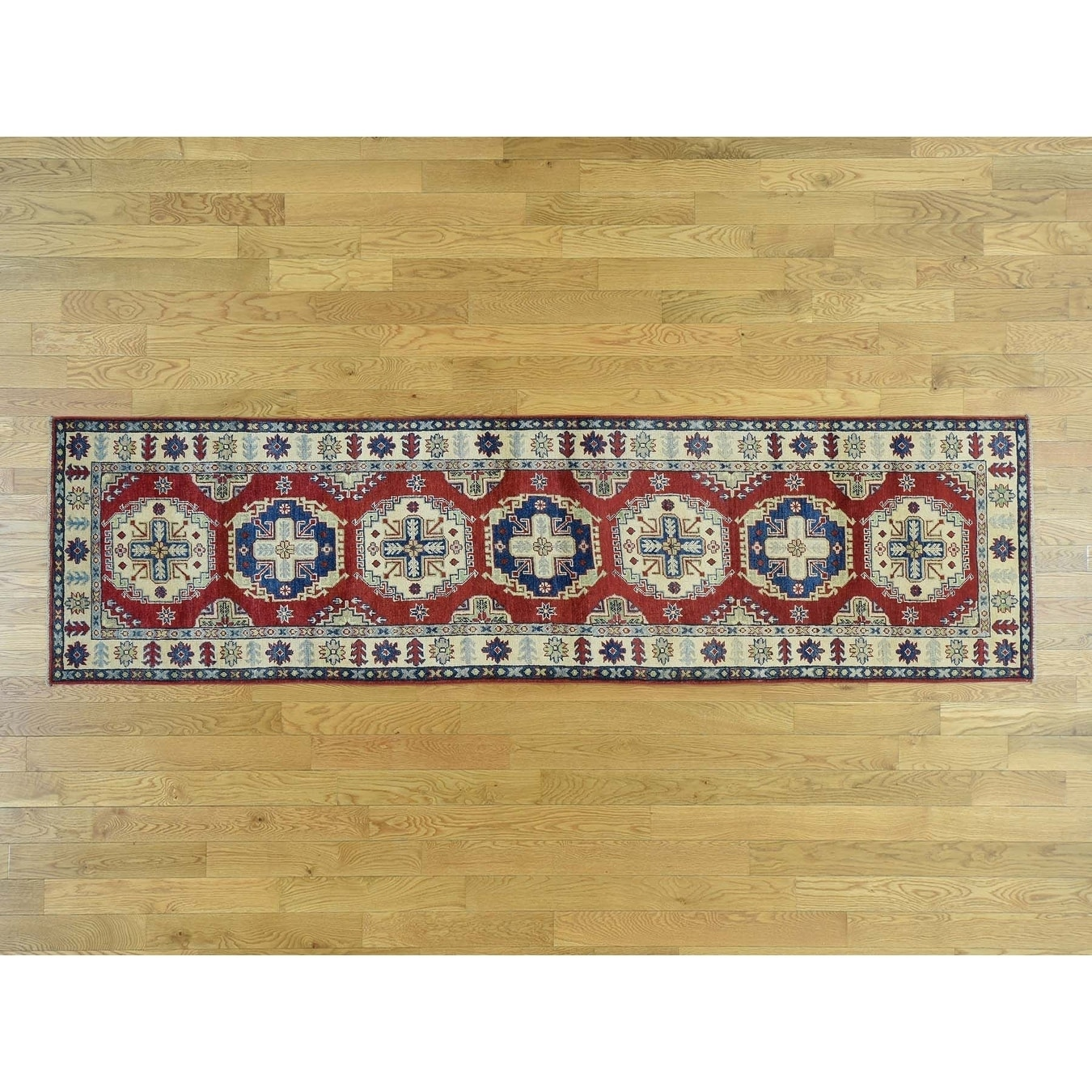 Hand Knotted Red Kazak with Wool Oriental Rug - 210 x 103