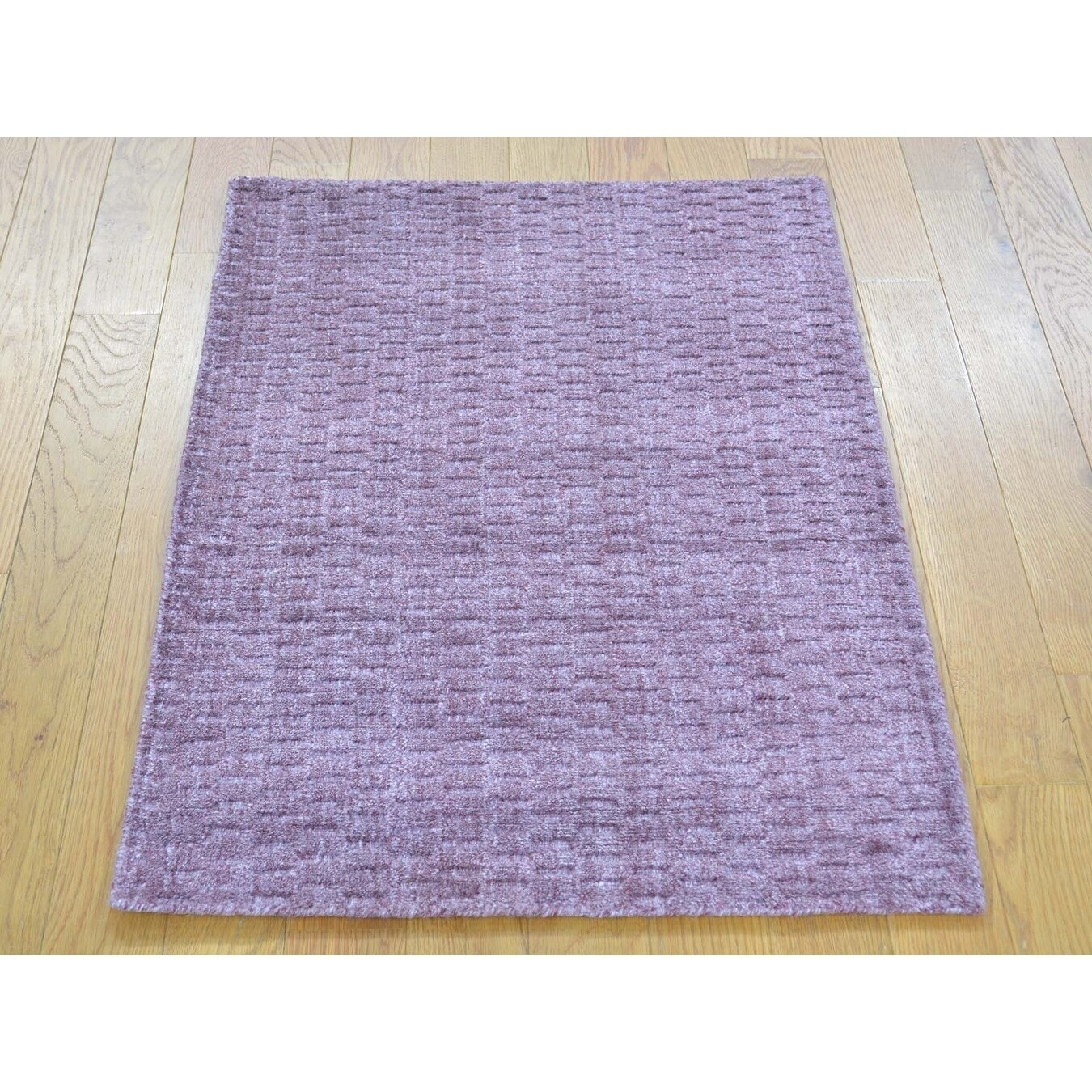 Hand Knotted Purple Modern & Contemporary with Wool & Silk Oriental Rug - 2 x 3