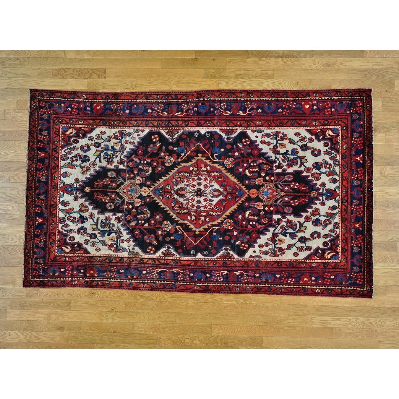 Hand Knotted Blue Persian with Wool Oriental Rug - 52 x 89