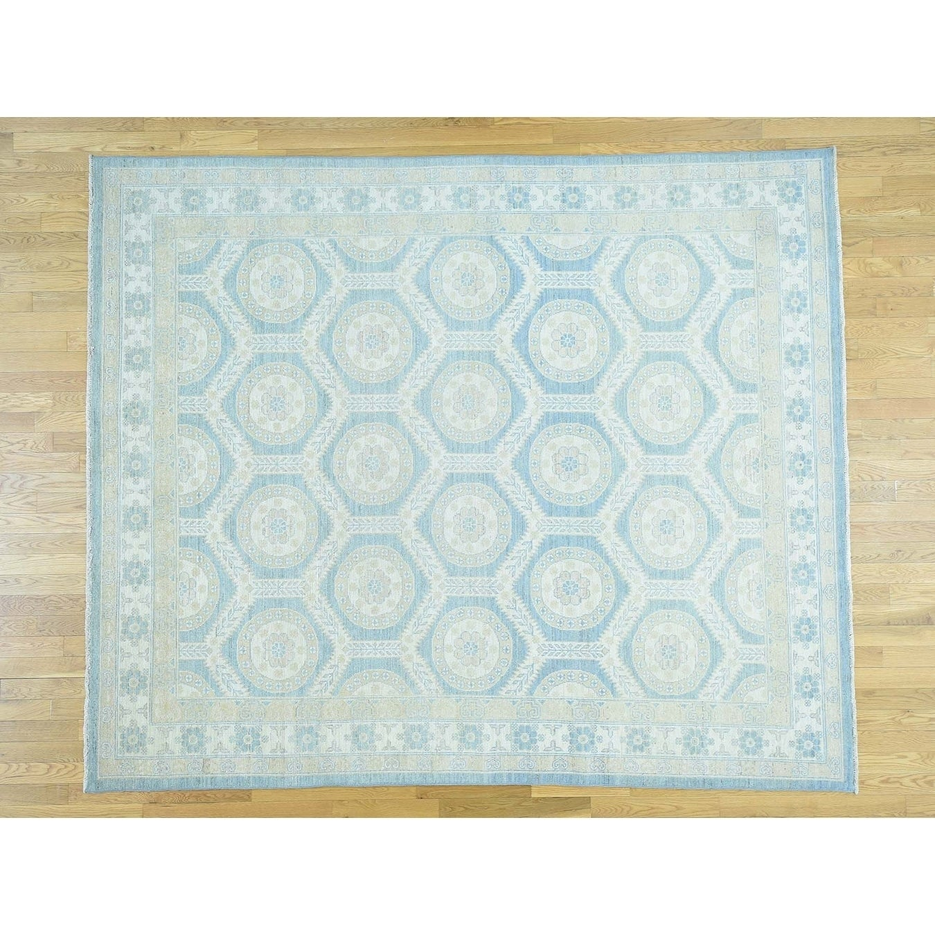 Hand Knotted Blue Khotan and Samarkand with Wool Oriental Rug - 86 x 101