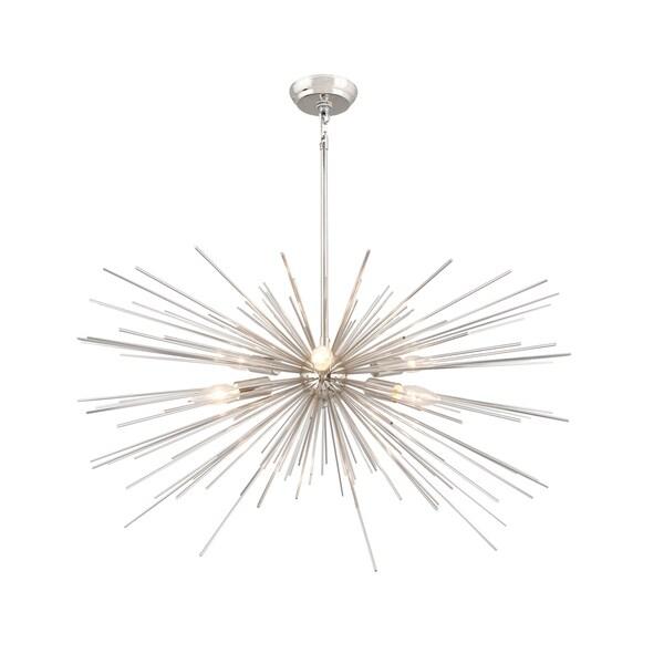 6 Light Assembled Sputnik Chandelier in Nickel finish