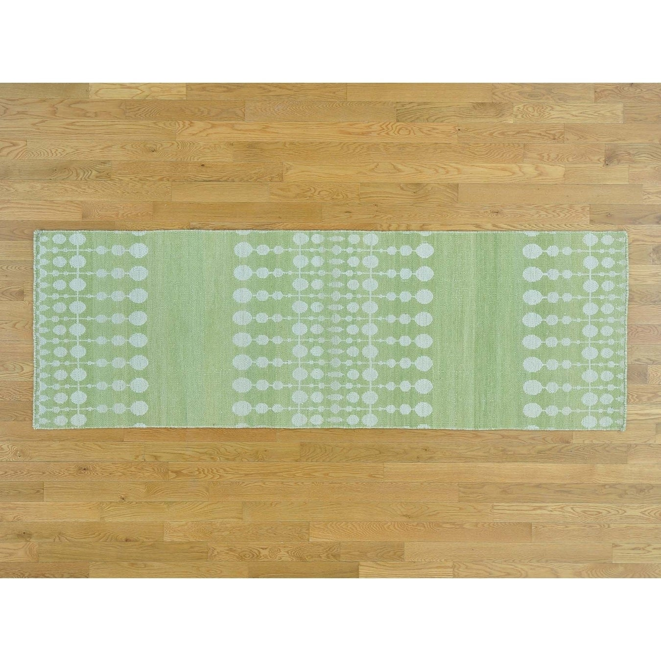 Hand Knotted Green Flat Weave with Wool Oriental Rug - 28 x 8