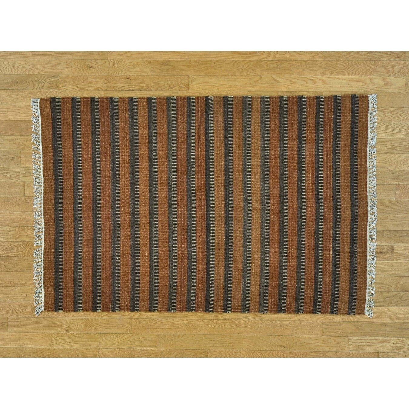 Hand Knotted Brown Flat Weave with Wool Oriental Rug - 310 x 510