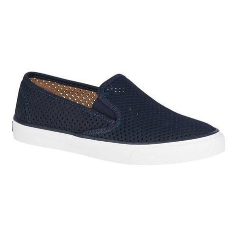 Women's Sperry Top-Sider Seaside Perforated Slip-On Sneaker Navy Leather