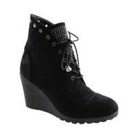 Women's Beacon Shoes Tessa Ankle Boot Black Micro Suede