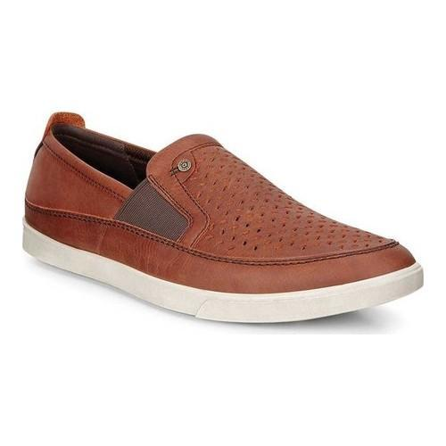Men's ECCO Collin Nautical Perforated Slip On Cognac Drago Cow Oil  Nubuck