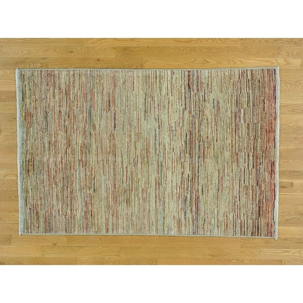 Hand Knotted Multicolored Modern & Contemporary with Wool Oriental Rug - 4'1 x 6'3