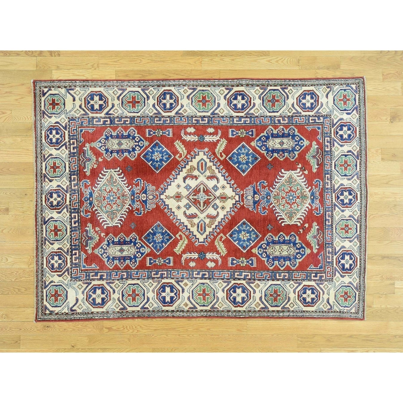 Hand Knotted Red Kazak with Wool Oriental Rug - 410 x 610