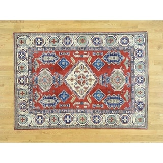 Hand Knotted Red Kazak with Wool Oriental Rug - 4'10 x 6'10