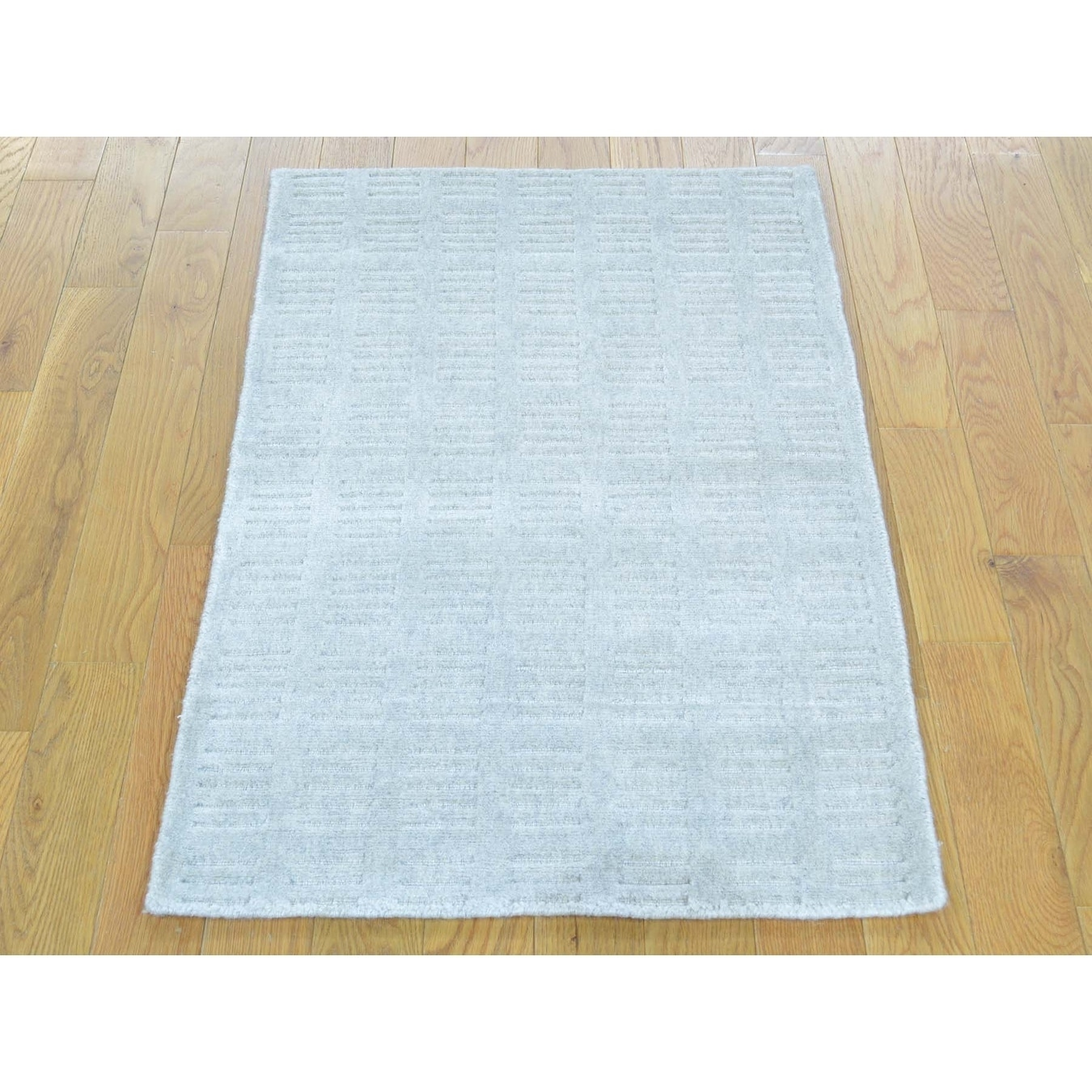 Hand Knotted Ivory Modern & Contemporary with Wool & Silk Oriental Rug - 2 x 3